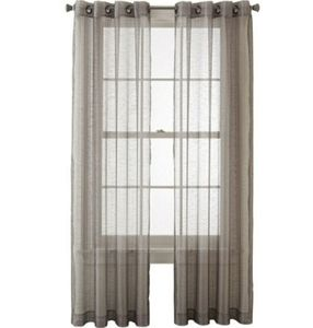 Grey Shimmer Baystone Grommet Panel Sheer Curtains